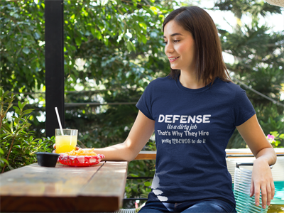 Defense is a dirty job that's why pretty liberos do it and other Volleybragswag volleyball tshirts on DearVolleyball.com
