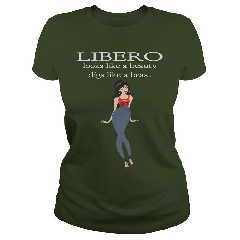 Volleyball TShirt Slogans for Liberos Looks like a Beauty, Digs like a Beast by Volleybragswag
