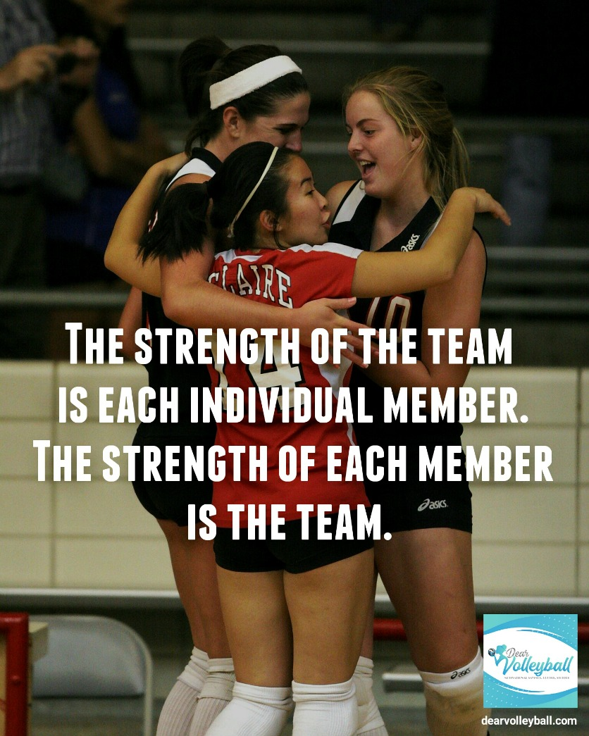The strength of the team is each individual and other motivating quotes on DearVolleyball.com