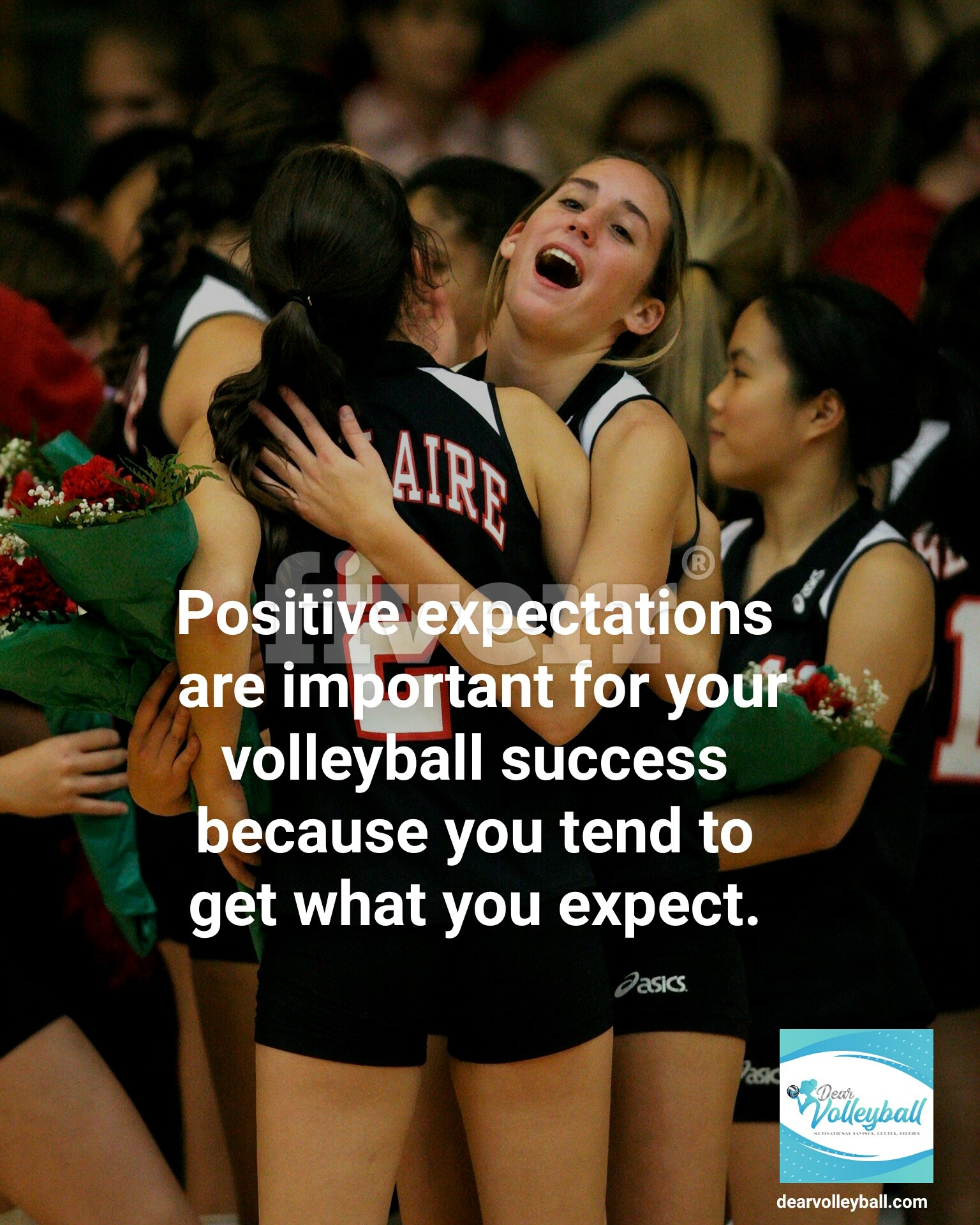 Positive expectations are important for your volleyball success because you tend to get what you expect and other motivational volleyball quotes on Dear Volleyball.com