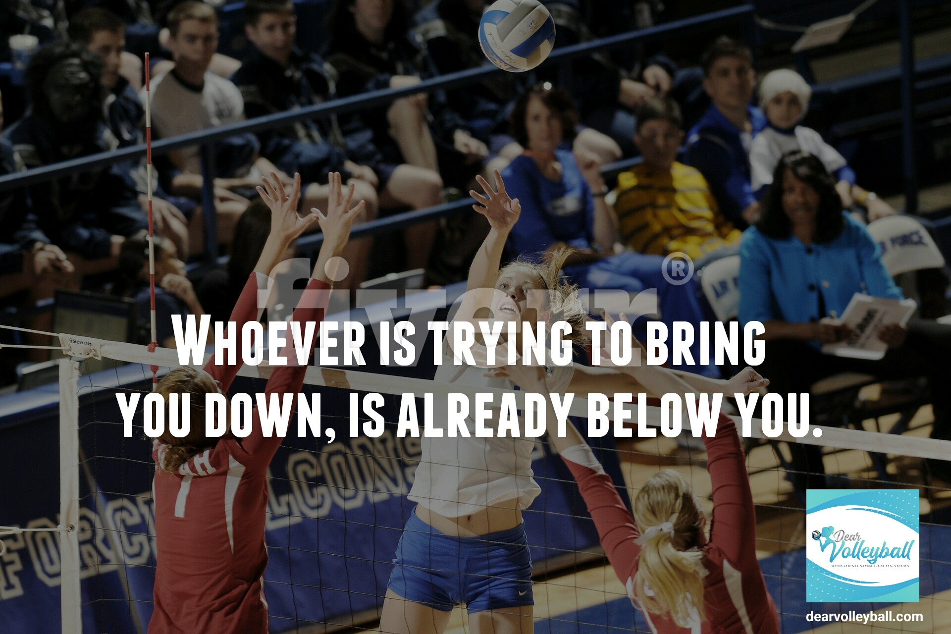 Whoever is trying to bring you down is already below you and 54 short inspirational quotes on DearVolleyball.com